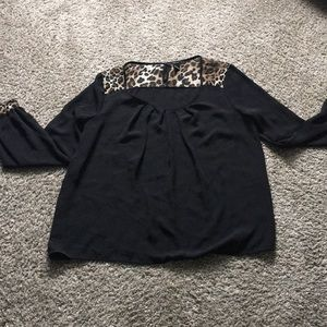Forever 21 Black and Leopard Sheer Blouse